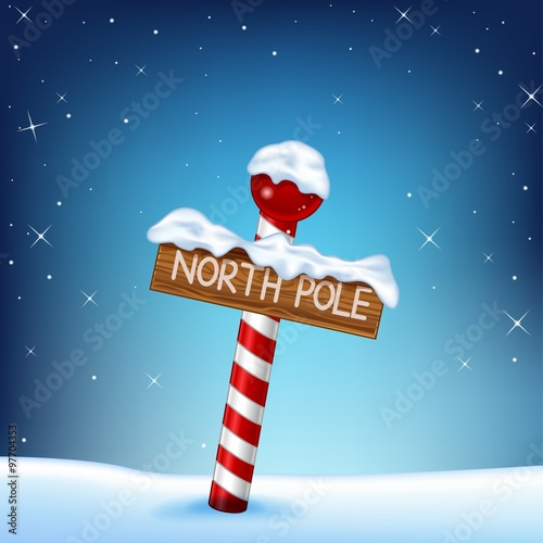 A Christmas illustration of a north pole wooden sign Wallpaper Mural