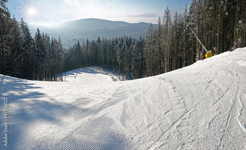 Ski piste among the spruce forest in sunny day Fototapet