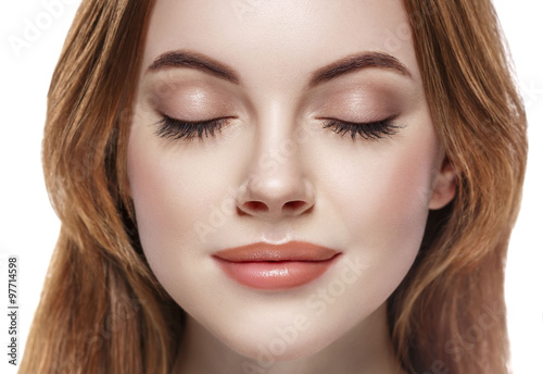 Eyes woman closed eyebrow lashes face close-up isolated on white Plakat