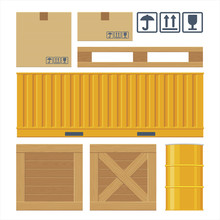Brown Carton Packaging Box, Pallet, Yellow Container, Wooden Crates, Metal Barrel On White Background With Fragile Attention Signs