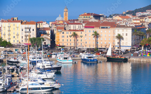 Ajaccio port cityscape with moored yachts Wallpaper Mural