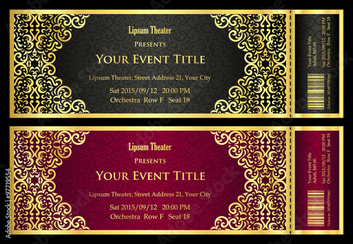 Fotografía  Vintage black and red ticket with golden ornament