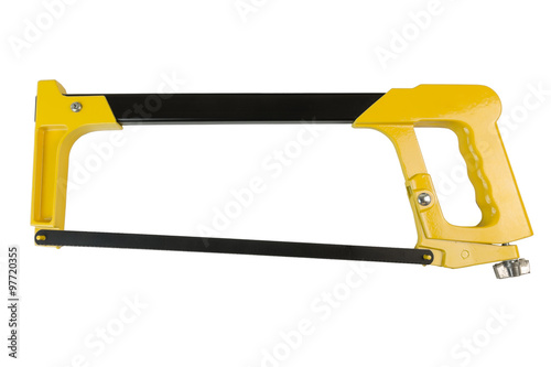 Yellow black hacksaw isolated on a white background Canvas-taulu