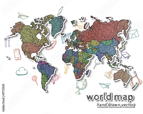 Hand Drawn Realistic World Map Buy This Stock Vector And Explore