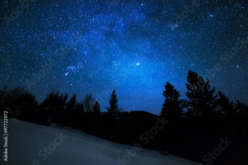 Foto op Canvas Nacht Milky Way in sky full of stars. Winter mountain landscape in night.