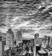 Stunning black and white rooftop view of New York skyscrapers