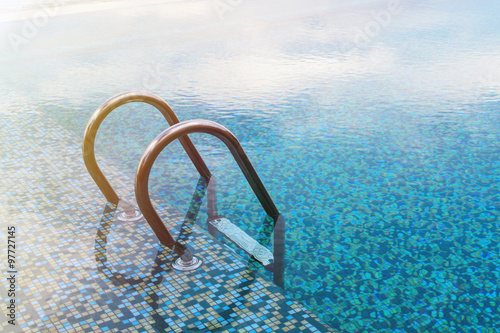 Swimming pool with stair and soft light