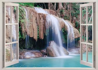 Panel Szklany Wodospad Open window view to Erawan Falls, Thailand
