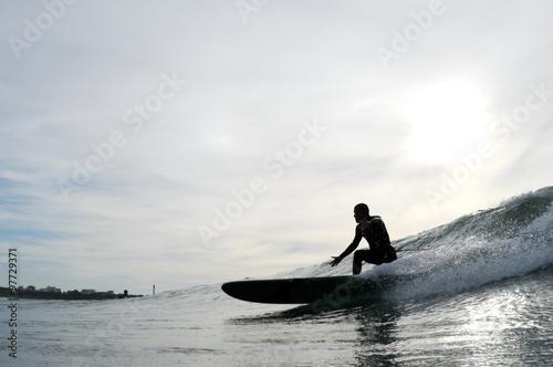 Fotografie, Obraz  Surfer longboard francie anglet