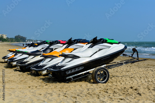 Spoed Foto op Canvas Water Motor sporten Jetski on the beach for rent