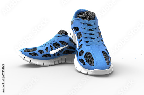two blue running shoes isolates on white