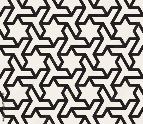 Vector Seamless Black And White Geometric Star Triangle Shape Tessellation Pattern