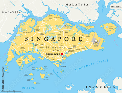 Fotografie, Obraz Singapore island political map with capital Singapore, national borders and important cities