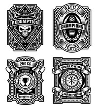 Ornate Black And White Emblem Graphic Design Set