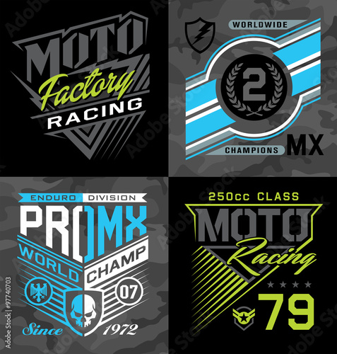 Fotografie, Obraz  Pro motocross racing emblem graphic set