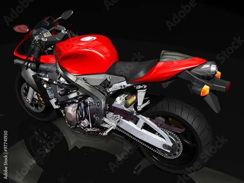 Poster Motorcycle Sport motorcycle rear view