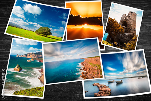 Spoed Foto op Canvas Oceanië Composite of printed photos with some travel pictures