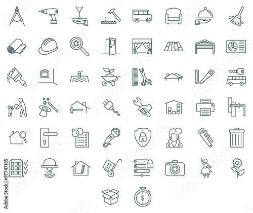 Fotografia  Contractors and tools icon set