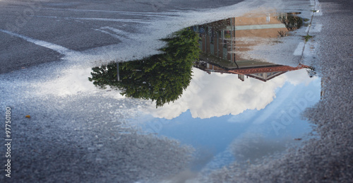 Stampa su Tela Reflection in a puddle