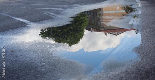 Fotografia Reflection in a puddle