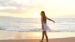 Beautiful Girl Walking Barefoot on Wet Sand Tropical Island Beach Sun Lens Flare Slow Motion