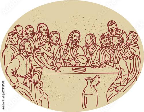 Last Supper Jesus Apostles Drawing Fototapet