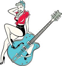 Rockabilly Pinup Girl Wearing ...