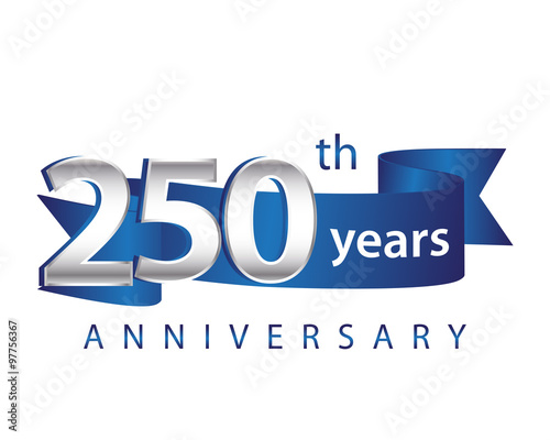 Fotografia  250 Years Anniversary Logo Blue Ribbon