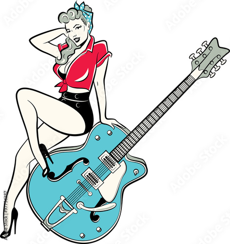 Obraz na plátně Rockabilly pinup girl wearing a bandana and high heels sitting on a guitar