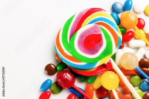 Keuken foto achterwand Snoepjes colorful swirl lollipop backgroung sugar sweets candy