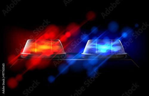 Fotografía  Police beacon. Red and blue emergency flashing siren.