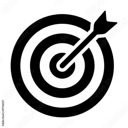 Cuadros en Lienzo  Target (bullseye) with arrow line art icon for apps and websites