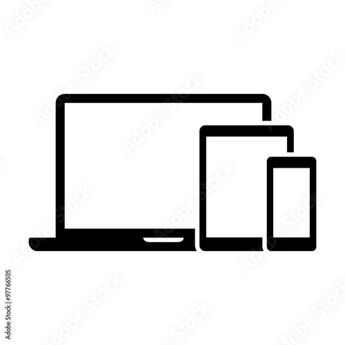 Obraz Responsive design laptop, tablet and smartphone screen icon  - fototapety do salonu
