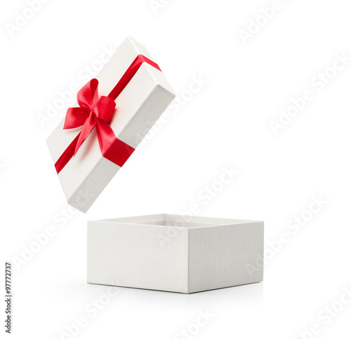 Fotografie, Obraz  White gift box with red bow isolated on white background - Clipping path include
