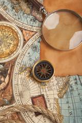 Panel Szklany Podświetlane Marynistyczny Old compass