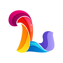 L Letter Logo Formed By Twisted Lines.