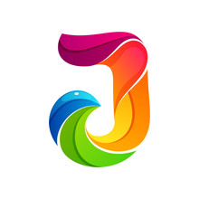 J Letter Logo Formed By Twisted Lines.
