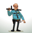 Vector cartoon image of balding policeman with red hair, mustache in blue shirt, black pants, tie, with black holster, handcuffs on belt, gold badge on chest, black baton in hand on light background.