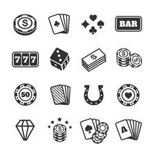 Gambling Icons Set, Casino And Card, Poker Game. Illustration