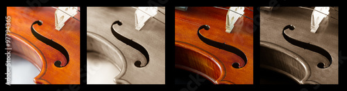Quadriptych of Musical Curves Wallpaper Mural