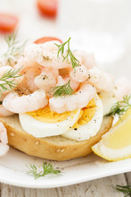 Sandwich With Boiled Egg And Shrimps