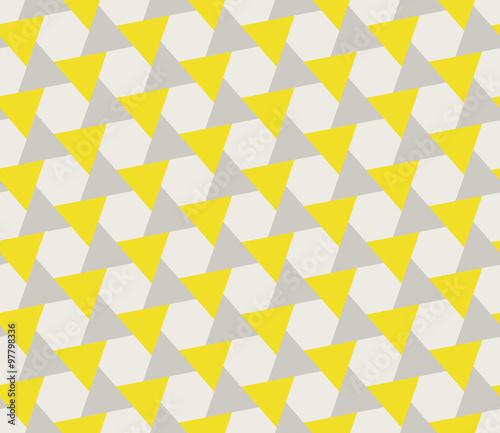 Vector Seamless Grey Yellow Geometric Triangle Shape Tessellation Pattern
