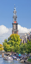 Western Tower, Part Of The Western Church, Amsterdam, Netherlands.