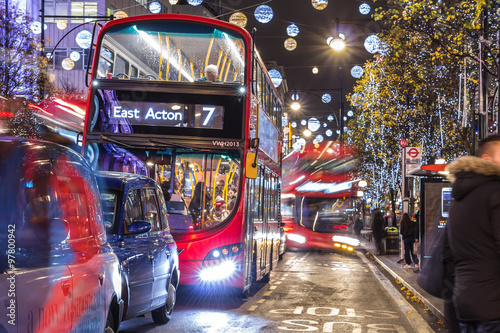Poster Londres bus rouge Christmas in London