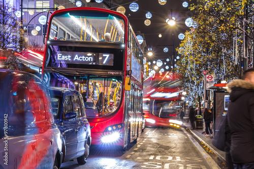 Foto op Canvas Londen rode bus Christmas in London