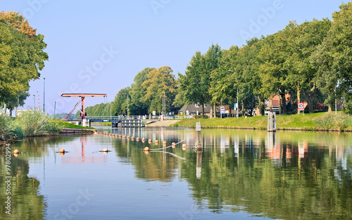 Fotobehang Kanaal Wilhelmina channel with a drawbridge, Biest-Houtakker, The Netherlands.