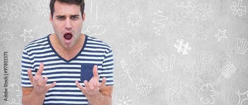 Fotografie, Obraz  Astonished man gesturing