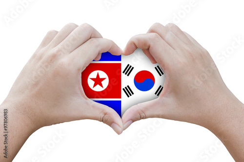 Hands In The Shape Of Heart With Symbols Of The Flag Of North An
