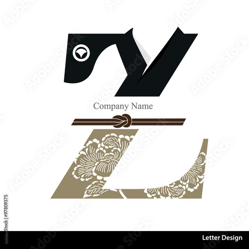 Vector of Kimono style alphabet tape Z  Traditional Japanese