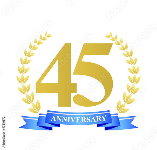 Photographie  45 anniversary with blue ribbon and gold wreath